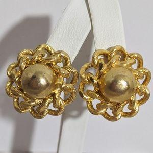Vintage Heavy Gold Austrian Clip Earrings